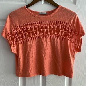 URBAN OUTFITTERS Cropped Orange Tee Size Small